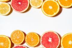 Blandade skivade frukter på vit bakgrund Royaltyfri Foto