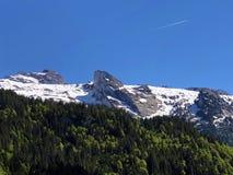 Blandade skogar och snöig alpina maxima över dalen av Wagital eller Waegital och den konstgjorda bergsjön Wagitalersee royaltyfri bild