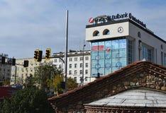 Blandade stilar av arkitektur i centret av Sofia Arkivbilder