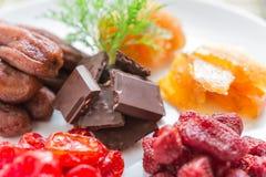 Blandade torkade frukter med choklad i rund form, Royaltyfria Bilder
