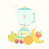 Blandare och roliga frukter för smoothie arkivbilder