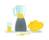 Blandareblandareexponeringsglas och frukt på tabellen Matlagningfruktsafthälsa kök för symboler för anordningdesignutgångspunkten Royaltyfri Fotografi