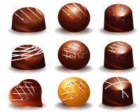 Blandat av läckra chokladtryfflar royaltyfri illustrationer
