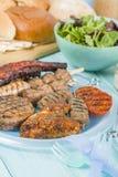 Blandat Barbequed kött Arkivbild