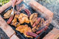 Blandat blandat kött på ett grillfestgaller på en solig sommardag Royaltyfri Bild