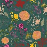 Blandat blom- på mörkt - grön bakgrundsmodell vektor illustrationer
