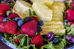 Blandat frukt- och ostmagasin arkivfoto
