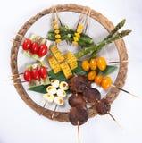 Blandat Kushiyaki för japan, Skewered och grillat kött Royaltyfria Bilder