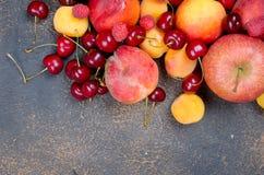 blandat många olika säsongsbetonade frukter royaltyfria foton