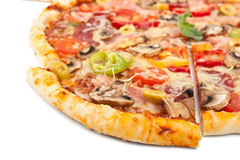 Blandat pizzaskivaslut upp Royaltyfri Bild