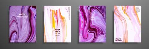 Blandning av akrylmålarfärger modernt konstverk Moderiktig design Måla för marmoreffekt Grafisk hand dragen design för räkning vektor illustrationer