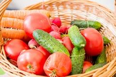 Blandning av grönsaker i korg Royaltyfri Bild