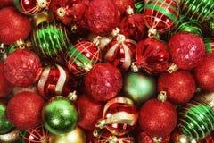 Blandning av julbollprydnader Royaltyfria Bilder