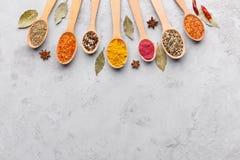 Blandning av kryddor i träskedar, bästa sikt arkivbild