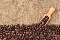 Blandning av olika sorter av kaffebönor med sleven Kaffelodisar Royaltyfri Foto