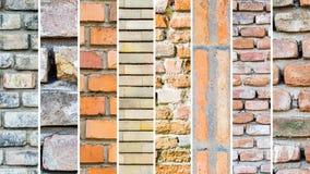 Blandning av olika tegelstenväggar, vita vertikala band Fotografering för Bildbyråer