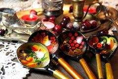 Blandning av traditionella ryska souvenir Arkivbild