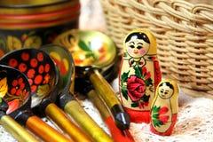 Blandning av traditionella ryska souvenir Arkivfoton