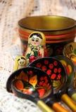 Blandning av traditionella ryska souvenir Royaltyfri Fotografi