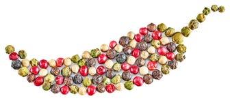 Blandning av varm peppar som isoleras på vit bakgrund Royaltyfri Foto