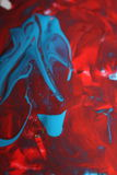 Blandning för blåa och röda färger Arkivfoton