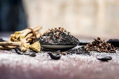 Blandningen eller ingredienser av den traditionella tandkr?men gjorde i Asien I E Br?nna till kol pulver, pulver av neembusken, k arkivfoton