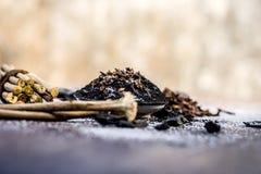 Blandningen eller ingredienser av den traditionella tandkr?men gjorde i Asien I E Br?nna till kol pulver, pulver av neembusken, k royaltyfri bild