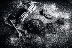 Blandningen eller ingredienser av den traditionella tandkr?men gjorde i Asien I E Br?nna till kol pulver, pulver av neembusken, k royaltyfria bilder