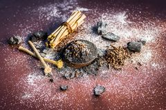 Blandningen eller ingredienser av den traditionella tandkr?men gjorde i Asien I E Br?nna till kol pulver, pulver av neembusken, k arkivbilder