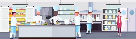 Blandningloppkockar som lagar mat för personalteamwork för mat inre horisontal för kulinariskt för begrepp modernt kommersiellt k royaltyfri illustrationer