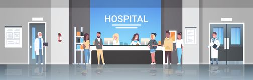 Blandninglopppatienter som står linjen kö på att vänta för begrepp för sjukvård för konsultation för medicinska doktorer för sjuk vektor illustrationer
