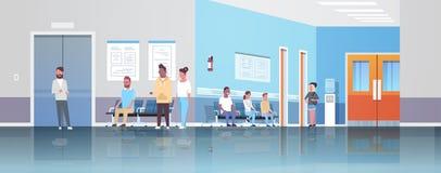 Blandninglopppatienter som väntar i linjen kö för att manipulera den kabineda medicinska kliniken för konsultation- och diagnossj stock illustrationer