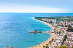 Blanes beach and Sa Palomera rock, Catalonia, Spain Stock Photography
