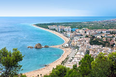 Blanes beach and Sa Palomera rock, Spain Stock Image