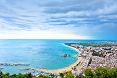 Blanes beach and Sa Palomera rock, Spain Royalty Free Stock Image