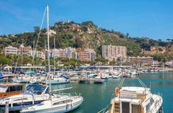 Blanes harbour and view of Sant Joan mountain. Costa Brava, Cata Royalty Free Stock Photography
