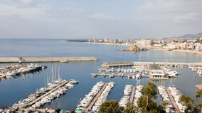 Blanes Marina. Its capacity is 320 berths for boats up to fifteen meters long and 2.5 meters deep Stock Images