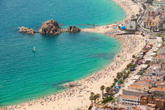 Blanes summertime. Aerial view of the seaside of Blanes in summertime. Costa Brava, Girona royalty free stock photos