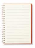 blank öppen orange sida för bokanmärkning Arkivfoto