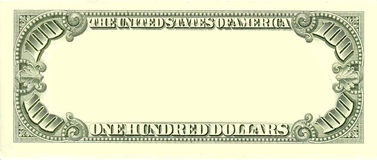 Blank 100 Dollar Bill Reverse Side Stock Photos