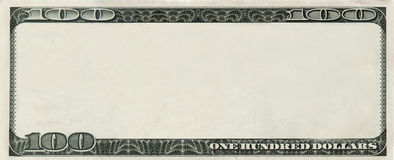 Blank 100 Dollars bank note with copyspace. Blank 100 Dollars bank note for design with copyspace Stock Photos