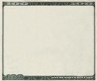 Blank 100 Dollars bank note with copyspace Royalty Free Stock Photography