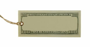 Blank 100$ hundred dollars bank note and tag tied Royalty Free Stock Photos
