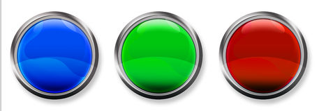 Blank 3-D RGB Button. Blue, Green and Red 3-D circle web buttons with steel border Stock Photo