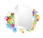 Blank 3d box with floral Stock Photos