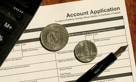 Blank Account Application Stock Photos