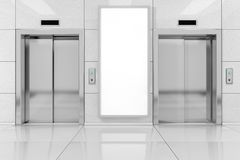 Blank Ad Billboard or Poster near Modern Elevator or Lift with M. Etal Doors in Office Building extreme closeup. 3d Rendering Royalty Free Stock Images