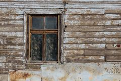 Blank ad space on a wooden old wall in the street outside royalty free stock image