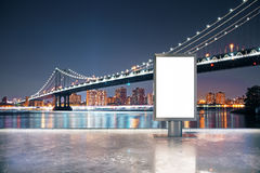 Blank ad stand night Royalty Free Stock Photo