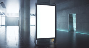 Blank advert stand. In grunge interior with daylight. Mock up, 3D Rendering royalty free illustration